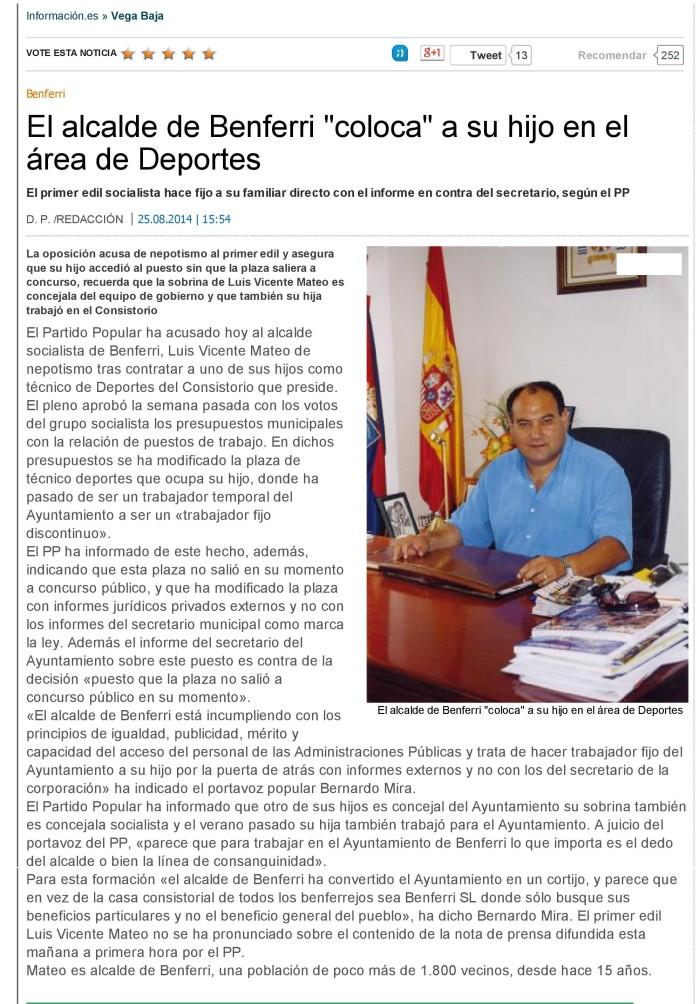 El alcalde de Benferri _coloca_ a su hijo en el área de Deportes - Informacion-page-001