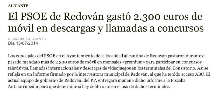 El PSOE de Redován gastó 2.300 euros de móvil en descargas y llamadas a concursos - ABC-page-001